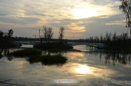 双清湾上空的晚霞和彩虹